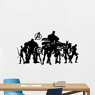 Avengers Superhero Wall Decal Comic Marvel Silhouette Vinyl Sticker Stencil Poster Kids Teen Girl Boy Room Nursery Bedroom Decor Mural 237RT