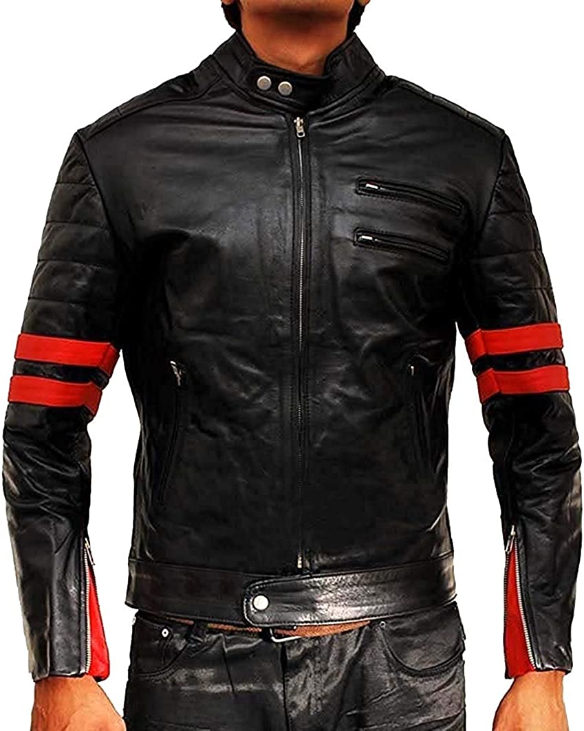 Fight Club Hybrid Red Stripes Jacket Biker Retro for Men OFFicial mail Los Angeles Mall order