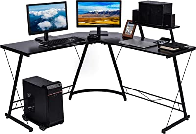 """Nidouillet L Shaped Desk, 50.8"""" Corner Computer Desk, Modern Home Office Desk with Large Monitor Shelf and CPU Stand, Writing Workstation, Gaming Desk, Easy to Assemble, Space Saving AB199"""