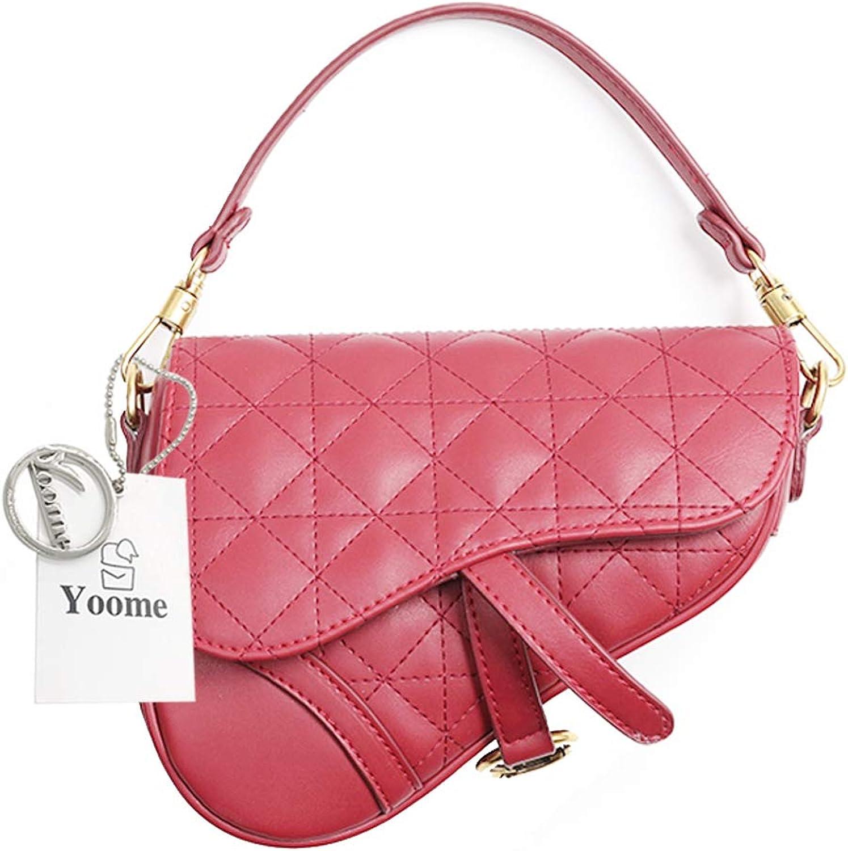 Yoome Desinger Womens Quilted Saddle Bag Hangbag Shoulder Bag Crossbody Purse