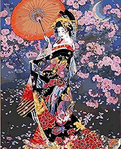 MSQRP DIY Malen Nach Zahlen-Ölgemälde Geschenk Für Erwachsene Kinder Malen Nach Zahlen Kits Home Haus Dekor Leinwand Gemälde- Japanische Geisha/40X50Cm(Ohne Rahmen)