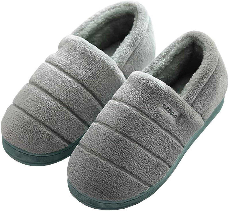 Autumn Winter Cotton Slippers All Inclusive Closed Toe Woman Men Home Couple Keep Warm Anti-Slip Plush Indoor Slipper
