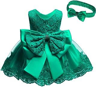 فستان للفتيات الصغار لحفلات التعميد والمعمودية مع أغطية للرأس