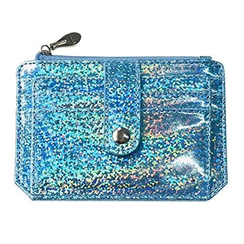 heavKin Bebeti-09 Women Fashion Multi-Function Portable Card Bag Ladies Zipper Buckle Wallet Handbag Pack (Blue, 12cm(L) x0.5cm(W) x8.5cm(H))