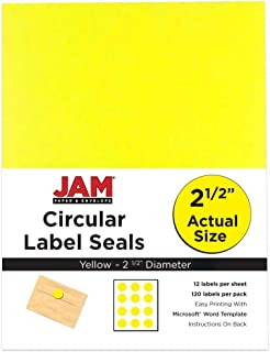 JAM PAPER Circle Label Sticker Seals - 2.5 Inch Diameter - Yellow - 120 Round Labels/Pack
