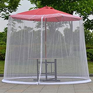 YLLN Garden Parasols Garden Umbrella Mosquito Netting Umbrella Cover Mosquito Netting Screen Cover Bug Netting Cover with Zipper (Color : White)