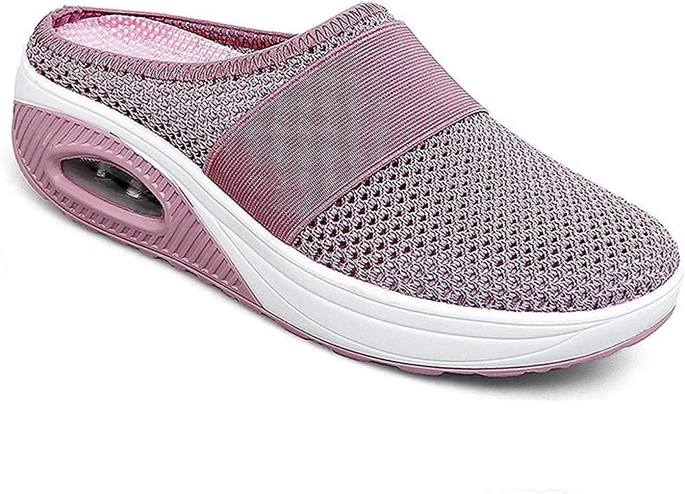 Kookmean Zapatillas para mujer, zapatos para caminar diabéticos, zapatos ortopédicos, zapatos de malla para enfermera, mocasines de plataforma