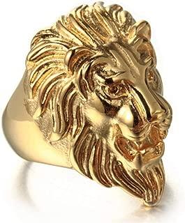 Mens Titanium Steel Lion Head Plating Gold Rings