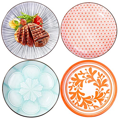 Dinner Plates, 7 Inch Plates, Ceramic Plates Set of 4