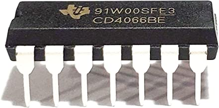 Juried Engineering CD4066BE CD4066 4066 10-pA, 20-V, 1:1 (SPST), 4-Channel Analog Switch Breadboard-Friendly IC DIP-14 (Pa...