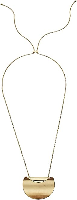 Cole Haan - Round Wave Motif On Adjustable Slider Chain Necklace