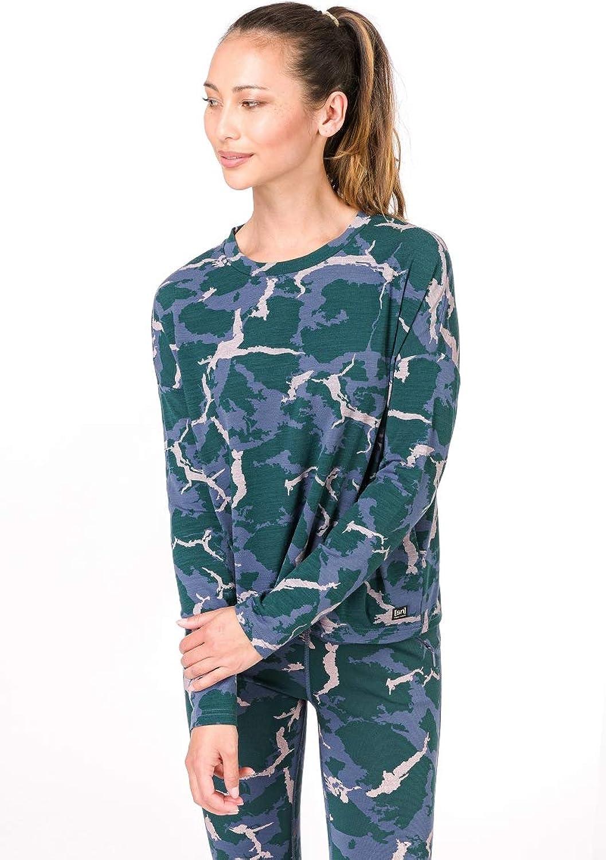 Super.natural Damen W Yoga Loose Printed Merino Longsleeve