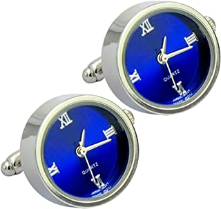 Daptsy Men's Round Shape Plain Cufflinks Watch Function Blue Bullet Cufflinks