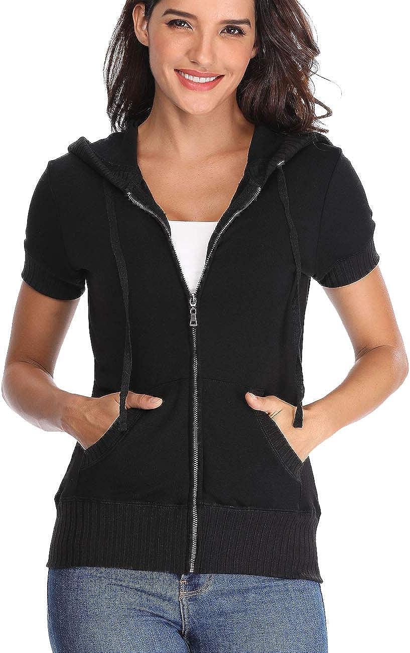MISS MOLY Women's Short Sleeve Hoodie Full Zip Up Cotton Slim Fit Sweatshirt Kanga Pocket