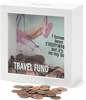 Jozie B Travel Fund Haven't Been Everywhere But on My List 6 x 6 Wood Shadow Box Bank