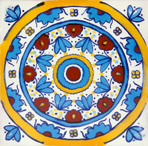 Rueda - Patchwork piastrelle messicane, Confezione da 30 piastrelle 10,5x10,5 cm, ideale per cucina backsplash, pareti del bagno, doccia, specchio