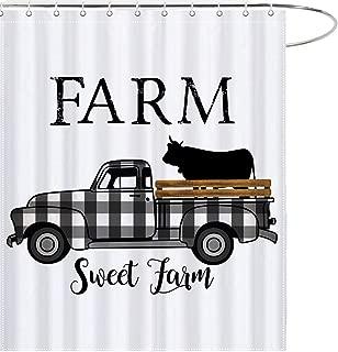 MAEZAP Farm Sweet Farm Farmhouse Fall Cow Shower Curtain Black and White Check Plaids Truck Bathroom Decor Waterproof Polyester with Hooks 69x70 Inchs