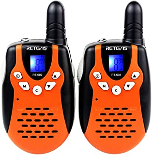 Retevis RT-602 Kids Walkie Talkies Rechargeable VOX 22 Channel 2 Way Radio for Kids for Birthday Gift Christmas (Orange, 1 Pair)