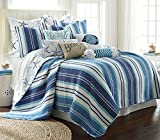 Levtex Home - Camps Bay Quilt Set -King Quilt + Two King Pillow Shams - Striped Coastal Pattern in Navy and Blues - Quilt Size (106 x 92) and Pillow Sham Size (36 x 20) - Reversible Pattern - Cotton