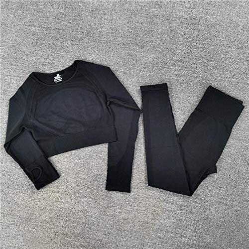 Trajes Sin Costuras Conjuntos De Entrenamiento Mujer Camiseta Superior De Dos Piezas Leggings Traje De Entrenamiento Fitness Traje De Gimnasio Ropa De Entrenamiento Conjuntos De Yoga S Blackset