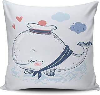 THUONY Pillowcase Home Decorative Cute Whale in a Sailor Suit 22X22 Inch Square Throw Pillow Case Cushion Cover Double Sides Printed (Set of 1)