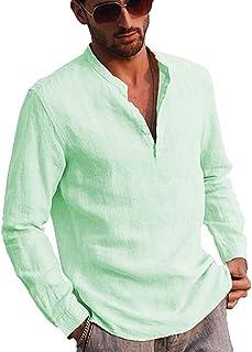 Carolilly Camisa de Manga Larga con Botones de Lino y algodón Hombre, Camisa de Cuello Alto de Color sólido, Camisas holga...