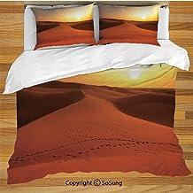 Juego de fundas de edredón Desert Bedding, huellas en las dunas de arena al amanecer Hot Dubai Landscape Travel Destination Juego de sábanas decorativo de 3 piezas con 2 fundas de almohada, naranja os