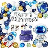 Buluri Kindergeburtstag Deko für Jungen, 67 Pcs Weltraum Geburtstag Party Dekoration, Geburtstag Hängedekoration mit Luftballons, Astronauten & Raketen für Kinder