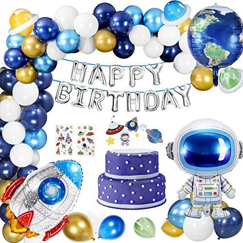 Décorations Anniversaire Garcon, 67 PCS Fusée Espace Décorations Enfant de Fête d'anniversaire, Bleu Ensemble de Décoration d'anniversaire avec Ballons, Astronaute & Fusée pour Enfants (Espace)