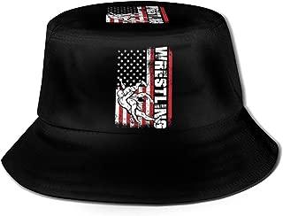 USA Flag Wrestling Fisherman's Hat Fashion Bucket Hat Fisherman Cap Men's Women's Summer Outdoor Visor Sun Hat Black