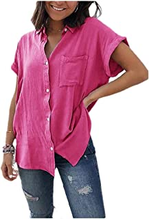HEFASDM Womens Fitted Pocketed Button Short Sleeve Solid Tops Tee Blouse