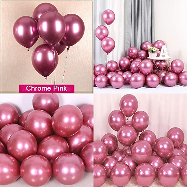 Chrome Metallic Balloons For Party 50 Pcs 12 Inch Thick Latex Balloons For Birthday Wedding Engagement Anniversary Christmas Festival Picnic Or Any Friends Family Party Decorations Metallic Pink