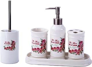GMMH badset campagnard Vintage Roses Salle de Bain Set d'accessoires Distributeur de Savon Brosse WC Céramique