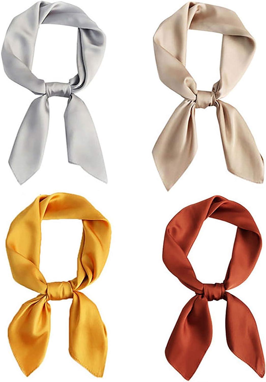 SY.Doot 4Packs Silk Feeling Scarf for Women Satin Neck Hair Scarf Square Handkerchief 27.5