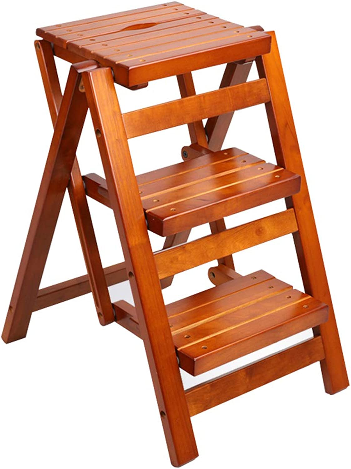 Folding Step Stool Wooden Multi-functional Household 3 Step Ladder Stool Indoor Non-Slip Easy Storage Safety Stepladder Stool,Brown