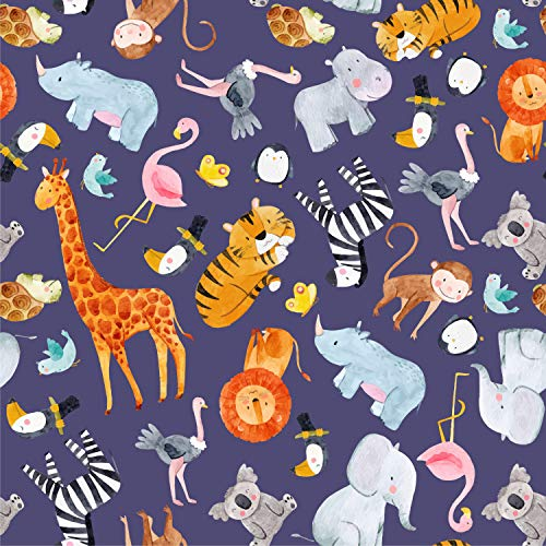 wandmotiv24 Fototapete Kinderzimmer Dschungel Tiere, XS 150 x 105cm - 3 Teile, Fototapeten, Wandbild, Motivtapeten, Vlies-Tapeten, Löwe, Tiger, Afrika, Zebra M5782