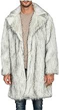 $61 » ASOBIMONO Men's Long Sleeve Fluffy Faux Fur Coat, Mens Winter Warm Faux Fur Overcoat, Long Thicken Soft Jacket Outerwear