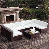 Mon Usine 210706el Tranquilla Gran salón de jardín (6Personas, Resina Trenzada Marrón 320x 160x 63cm