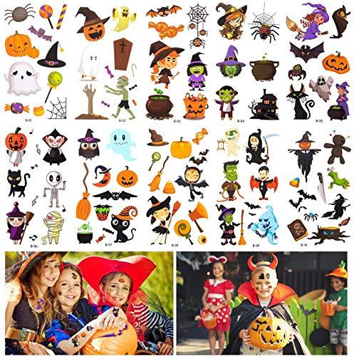 DQMOON 10 pegatinas de tatuaje de Halloween, pegatinas de tatuaje de dibujos animados para niños, fiesta de Halloween y tatuajes temporales de juego de roles