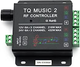 Supernight - Controlador de música TQ Music 2 Touch Controller RF para 3528 5050 5630, para tira led RGB, sensibilidad, retroiluminación, control remoto con RF, 12-24V CC 18A, audio 3.5mm