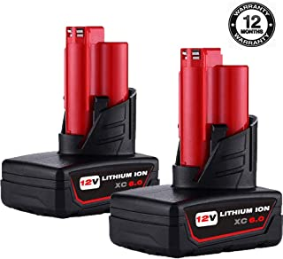 VINIDA 2 Pack 12V 6000mAh Lithium-ion Battery Replacement for Milwaukee M12 XC 48-11-2411 48-11-2420 48-11-2401 48-11-2402 2455-20 Cordless Power Drill Tools