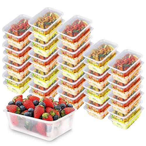 Lebensmittelbehälter für Lunchboxen 1000 ml Mikrowelle Klar Kunststoff Lebensmittelbehälter mit Deckel Essensbox für Büro, Schule, Fitnessstudio & Zuhause Spülmaschinenfest 1 Fach Behälter