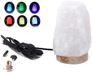 USB Salt Lamp – 2017 New Design by HijiNa, Natural Himalayan Crystal Salt with Natural HINOKI Wooden Base, Distribute Cypress Aroma, USB Plug with On/Off Switch, LED Bulb (White Salt Hinoki Base)