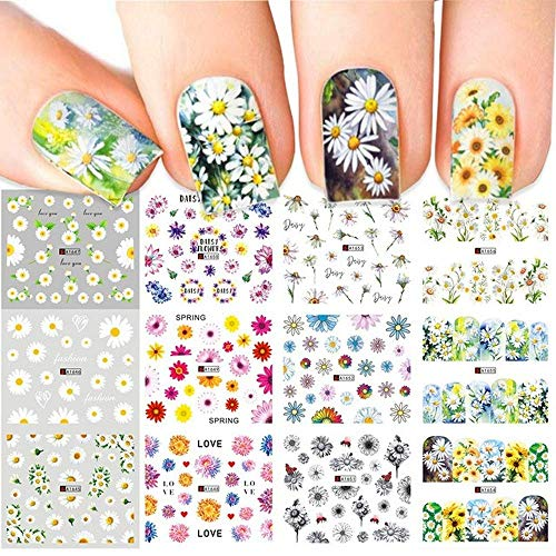 Daisy Nail Art Waterslide Decals,Summer Floral Flower Water Transfer Nail Art Decorations,Watermark Nail Tattoos for Fingernails/Toenails Decor&Full Wraps for DIY or Salon
