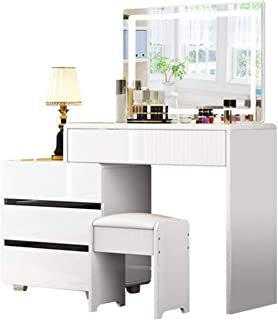 XCJ Coiffeuse Moderne Coiffeuse avec Grand Set Flip Top Mirror Table de Maquillage Un Grand Espace de Rangement avec Les o...