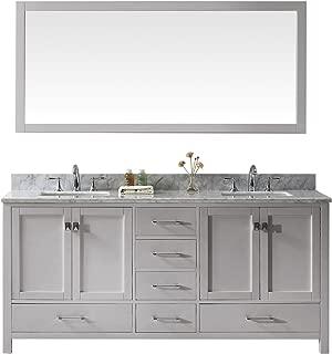 Virtu USA GD-50072-WMSQ-CG Caroline Avenue Double Bathroom Vanity with Marble Top/Square Sink with Mirror, 72