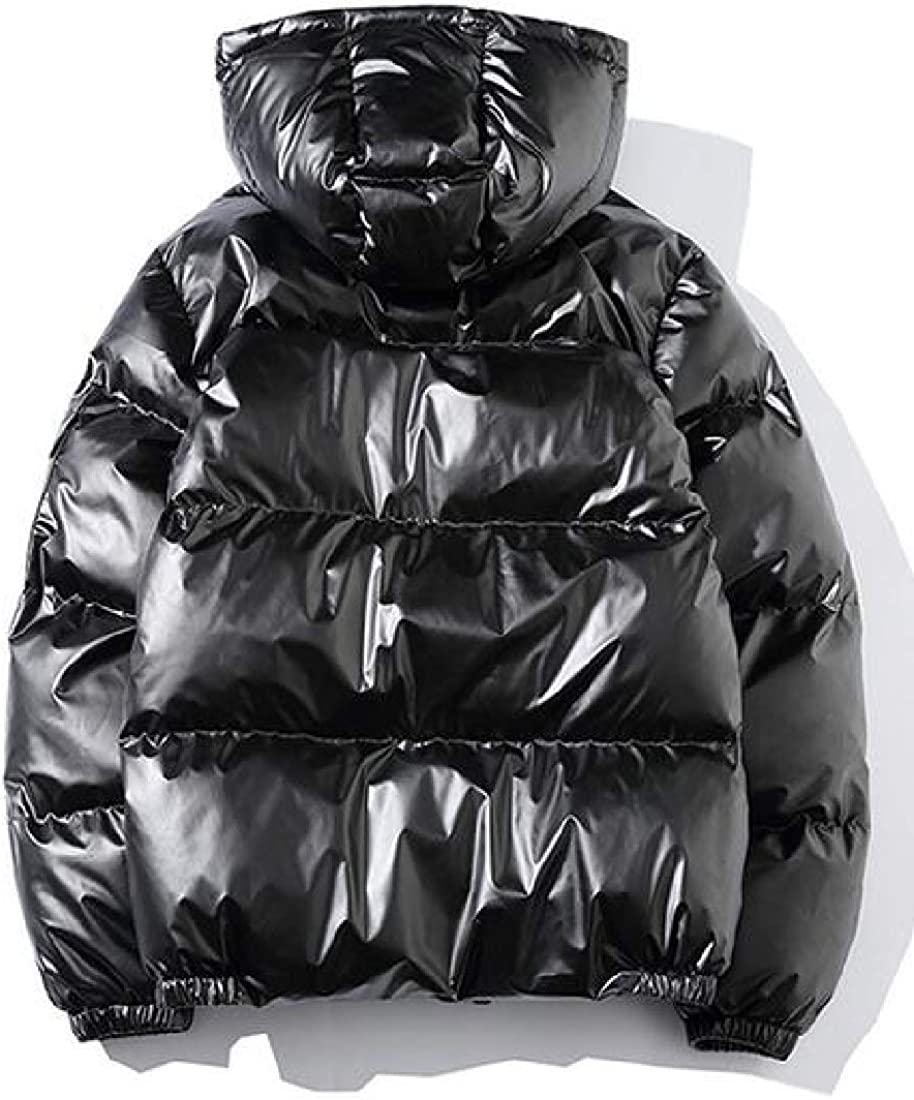XiaoTianXinMen XTX Mens Hooded Winter Shiny Plus Size Down Quilted Jacket Parka Coat Outerwear Black M