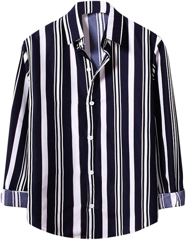 XUETON Mens Casual Long Sleeve Shirts Vertical Striped Lapel Button Down Dress Shirt Chambray Tops