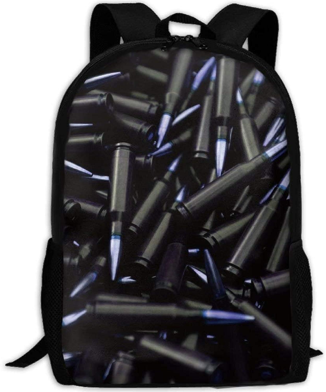 Backpack Adult Cool Black Bullet Unique Shoulders Bag Daypacks