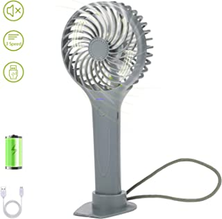 INVOKER Mini Ventilador de Mano Recargable con Carga USB, entilador de batería con 3 Velocidades portátil Eléctrico Ventilador para Oficina, Hogar, Viajes, Aire Libre (Gris)